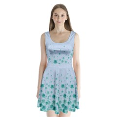 Light Blue Floral Split Back Mini Dress  by CoolDesigns