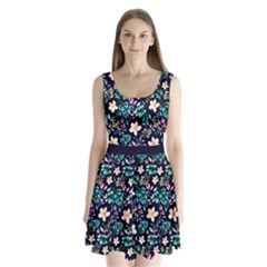 Navy Floral Split Back Mini Dress  by CoolDesigns