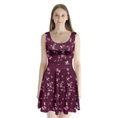 Wine Snow Split Back Mini Dress  by CoolDesigns