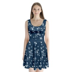 Navy Snow Split Back Mini Dress  by CoolDesigns