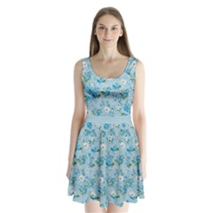Light Blue Floral 4 Split Back Mini Dress  by CoolDesigns