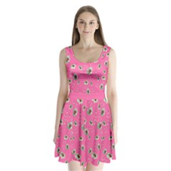 Hot Pink Floral Split Back Mini Dress  by CoolDesigns