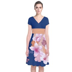 Navy River Japanese Style Cherry Blossom Short Sleeve Front Wrap Dress by CoolDesigns
