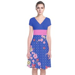 Blue Blossom Japanese Style Cherry Blossom Short Sleeve Front Wrap Dress by CoolDesigns
