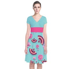 Blossom Mint Japanese Style Cherry Blossom Short Sleeve Front Wrap Dress by CoolDesigns