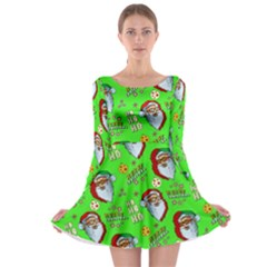 Neon Green Santa Long Sleeve Skater Dress by CoolDesigns