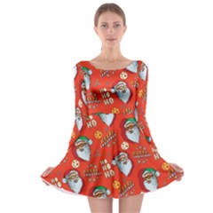 Red Orange Santa Long Sleeve Skater Dress by CoolDesigns