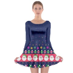 Navy Christmas Long Sleeve Skater Dress by CoolDesigns