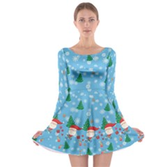 Light Blue Santa Long Sleeve Skater Dress by CoolDesigns