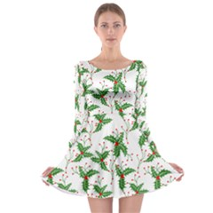Xmas Leaves Long Sleeve Skater Dress by CoolDesigns