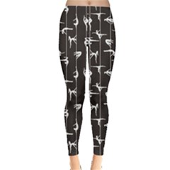 Black Pole Dancer Silhouette Women s Leggings by CoolDesigns