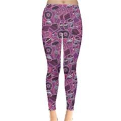 Purple Pattern With Sweet Food Cakes Chocolate Icecream Women s Leggings