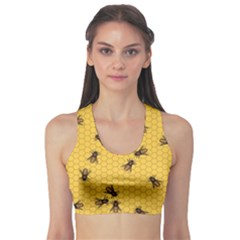 Yellow Pattern of the Bee on Honeycombs Women s Sport Bra by CoolDesigns