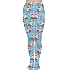 Blue Christmas Illustration Women s Tights