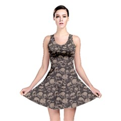 Black Grunge Pattern With Skulls Illustration Reversible Skater Dress by CoolDesigns