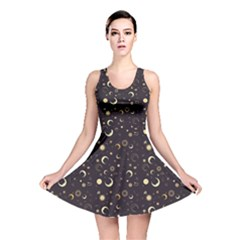 Black A Fun Night Sky The Moon And Stars Reversible Skater Dress by CoolDesigns