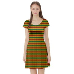 Orange Pattern In Rasta Colors Short Sleeve Skater Dress