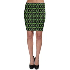 Green Shamrock Pattern Black Bodycon Skirt