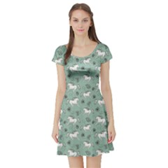 Green Pattern Of Racing White Horses And Flowers Short Sleeve Skater Dress