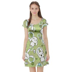 Green Pattern With Doodle Kawaii Short Sleeve Skater Dress by CoolDesigns