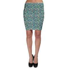 Blue Pattern Design With Colored Koi Fish Bodycon Skirt by CoolDesigns