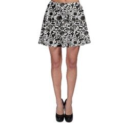 Black Halloween Pattern Doodles Elements Skater Skirt by CoolDesigns