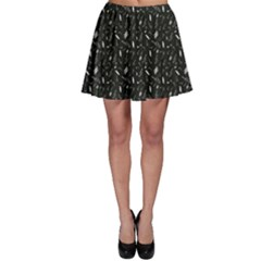Black Pattern With Various Music Symbols Skater Skirt