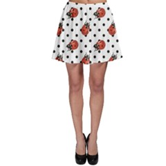 Red Ladybugs Black Polka Dots Pattern Skater Skirt by CoolDesigns