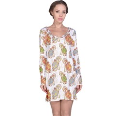 Colorful Indian Elephant Pattern Long Sleeve Nightdress by CoolDesigns