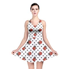 Red Ladybugs Black Polka Dots Pattern Reversible Skater Dress
