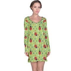 Green Pattern Ladybugs Colorful Polka Dots Green Long Sleeve Nightdress by CoolDesigns