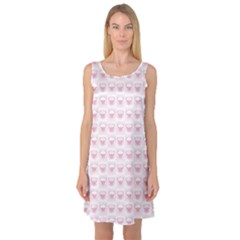 Pink Cute Pig Pattern With Pink Pig Faces Sleeveless Satin Nightdress by CoolDesigns