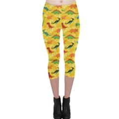 Yellow Cartoon Dinosaur Pattern Capri Leggings by CoolDesigns