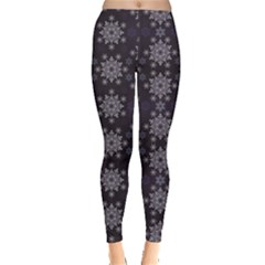 Blue Snowflake Dark Blue Women s Leggings by CoolDesigns