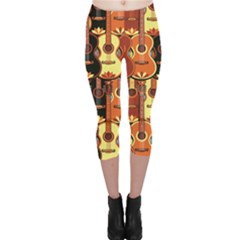 Colorful Pattern With Guitars Capri Leggings by CoolDesigns