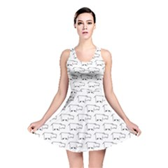 Gray Doodle Sketch Hippo Pattern With Side View Of Large Reversible Skater Dress by CoolDesigns