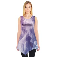 Blue Iridescent Blue Purple And Pink Pattern Sleeveless Tunic Top