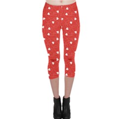 Red Happy Valentines Day Pattern Template Capri Leggings by CoolDesigns