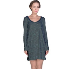 Black Big Skulls And Flowers Long Sleeve Nightdress by CoolDesigns