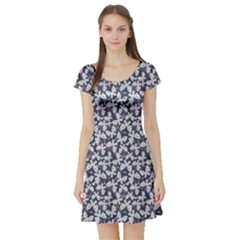 Blue Violet White Floral Pattern Silhouettes Butterflies Short Sleeve Skater Dress by CoolDesigns