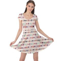 Brown Hot Air Balloon Pattern Cap Sleeve Dress