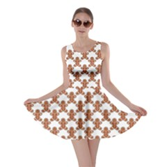 Brown Ginger Cookies Pattern Christmas Design Skater Dress