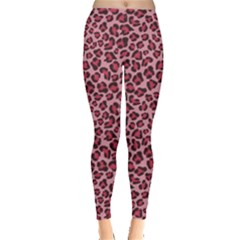 Purple Pink Leopard Texture Pattern Leggings by CoolDesigns