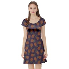 Purple Pattern Of Pineapple Short Sleeve Skater Dress by CoolDesigns