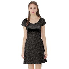 Black Halloween Pattern With Figured Bats Short Sleeve Skater Dress