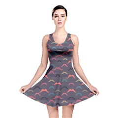 Purple Vintage Pattern With Mustache And Stripes Retro Style Reversible Skater Dress