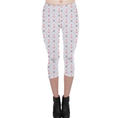 Gray Retro Pattern Polka Dot With Anchors Capri Leggings