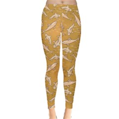 Yellow With Stylized Sharks Stylish Design Leggings by CoolDesigns