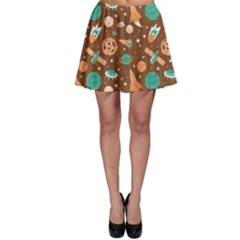 Brown Pattern With Planets Ships And Stars In Vintage Flat Style Skater Dress