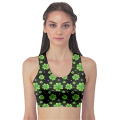 Green Shamrock Pattern Black Women s Sport Bra